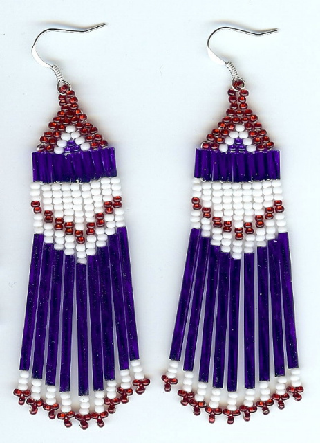 Patriotic Red, White and Blue long fringe earrings