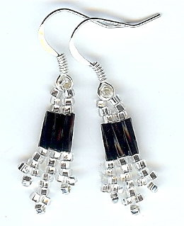 Black and Silver Bead Earrings