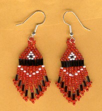 Red, Black and White Bead Earrings