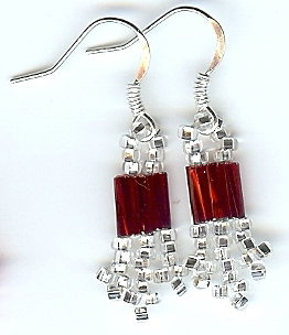 Red and Silver beaded earrings
