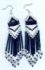 Montana Blue, White and Silver long fringe earrings