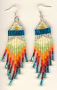 Aqua Blue, Silver, Cream, Orange, Red Fringe Earrings