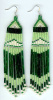 Silver Lined Green and Lime Green Fringe Earrings