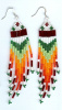Red, White and Green long fringe earrings
